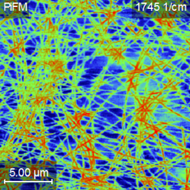 PiFM image of buried silver nanowire in conductive layer