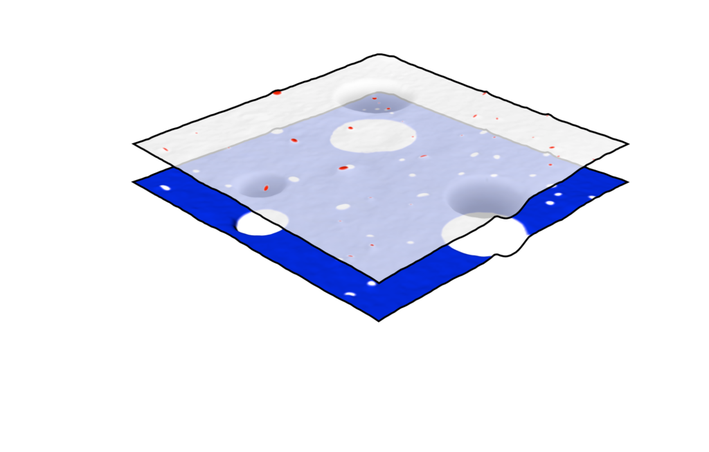 Two individual PiFM chemical maps layered 3d render